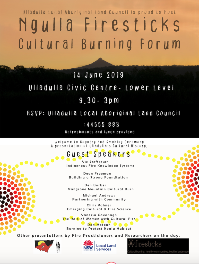 A flyer on cultural burning in Ulladulla on Friday 14 June 2019